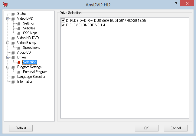 Anydvd 11 Drives Selection